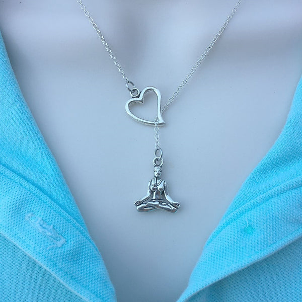 I Love Yoga Handcrafted Silver Lariat Y Necklace.