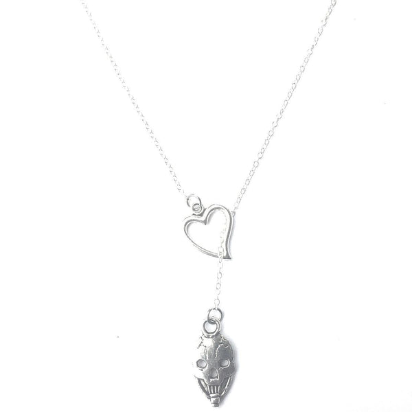 I Love GFD Steal Your Face Skull Silver Lariat Necklace.