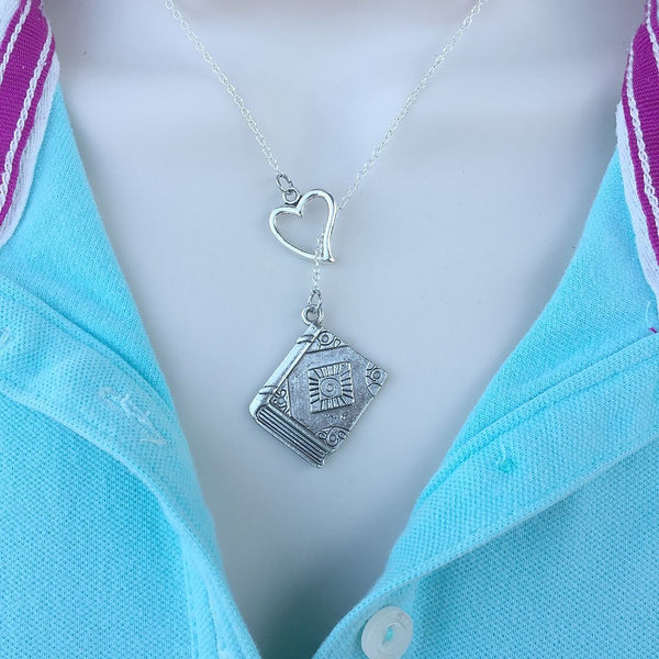 I Love Reading Handcrafted Silver Lariat Y Necklace.