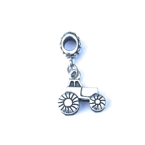 Silver Tractor Charm Bead for Bracelet.