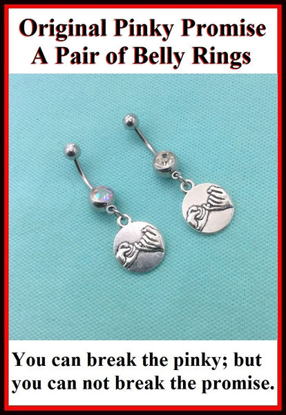 2 PINKY PROMISE Charms Surgical Steel Handmade Belly Rings
