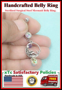 Stunning Mermaid with abalone Shell Surgical Steel Belly Ring.