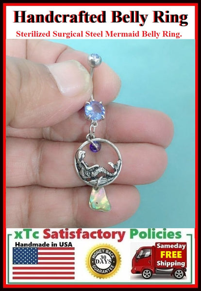 Stunning Mermaid & abalone Shell Surgical Steel Belly Ring.