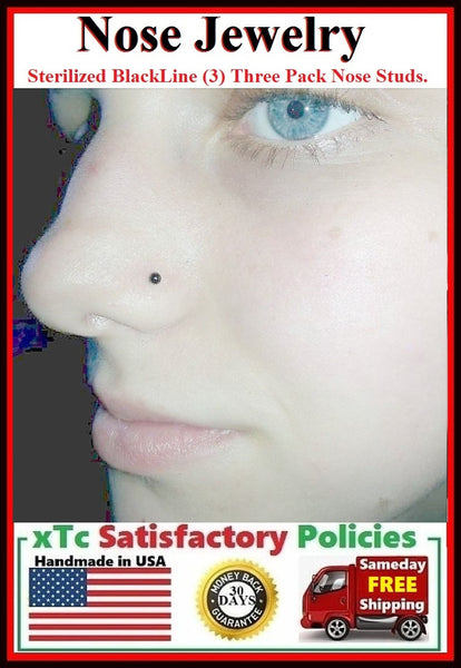 3 STERILIZED Blackline 20g Beautiful Black Nose Studs.