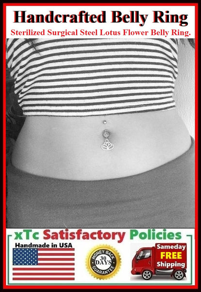 Surgical Steel Double Gems Belly Ring with LOTUS FLOWER.