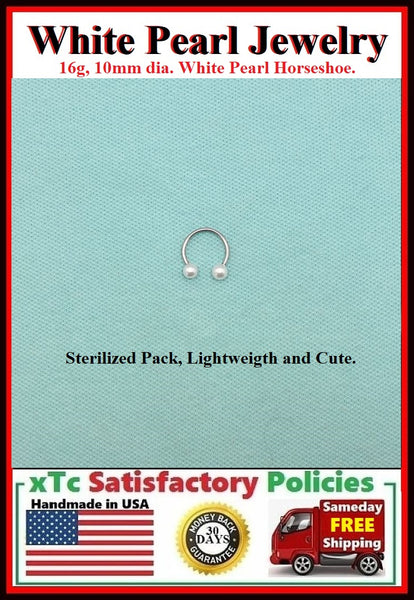 Sterilized Surgical Steel 16g, Faux White Pearl Balls SEPTUM Horseshoe.