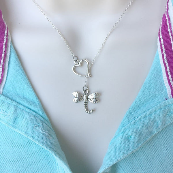 I Love Dragonfly Silver Lariat Y Necklace.