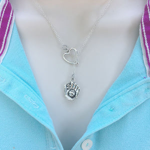 I Love Baseball/Softball Mitt Silver Lariat Y Necklace.