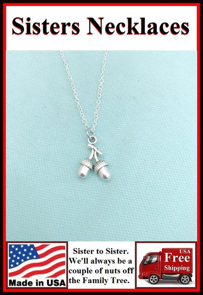 Perfect Gift for SISTER; CARDED Silver Couple of ACORNS Charm Necklace.