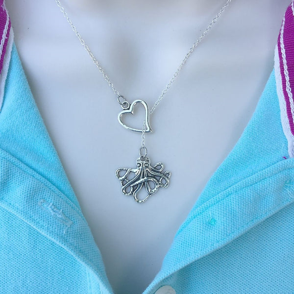 I Love Octopus Handcrafted Silver Lariat Y Necklace.