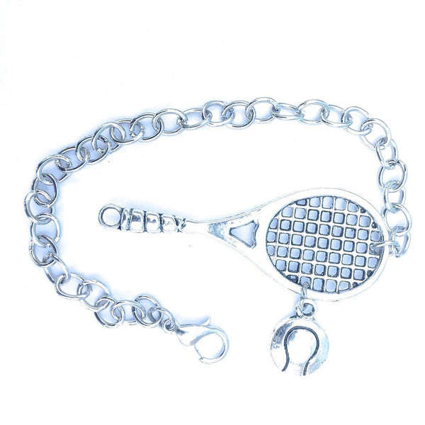 Handcrafted Tennis Racket and Ball Silver Charms Steel Bracelet.