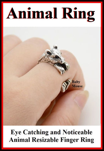 Beautiful Baby Mouse Resizable Finger Ring.