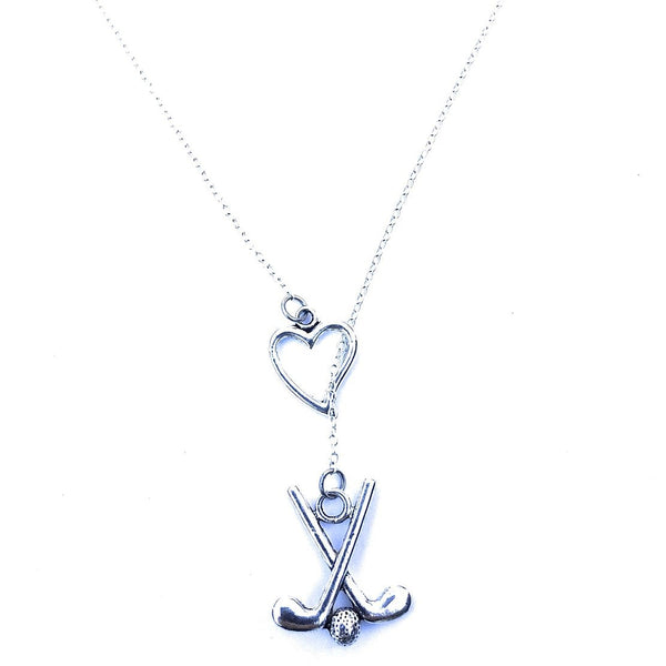 I Love Golf Handcrafted Silver Lariat Y Necklace.