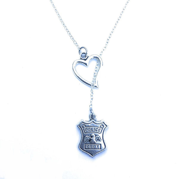 I Love PD Badge Silver Lariat Y Necklace.
