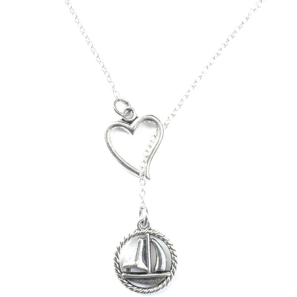 I Love Sailing Handcrafted Silver Lariat Y Necklace.