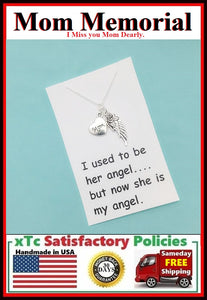 MOM Memorial; CARDED Silver Wing n Mom Charm Necklace.