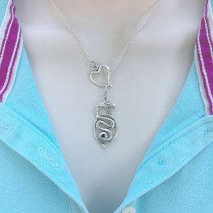 I Love Snake Silver Lariat Y Necklace.
