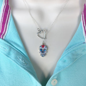 I Love Sugar Skull Handcrafted Silver Lariat Y Necklace.