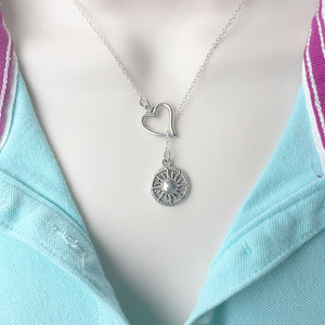I Love Sun Silver Lariat Y Necklace.