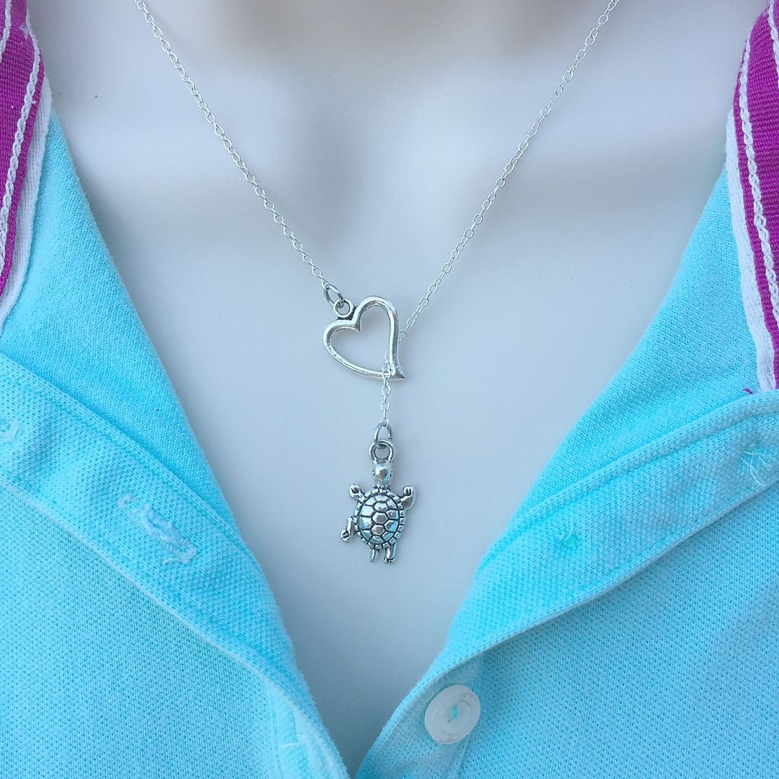 I Love Hawaiian Turtle Handcrafted Silver Lariat Y Necklace.