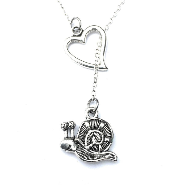 I Love Snail Handcrafted Silver Lariat Y Necklace.