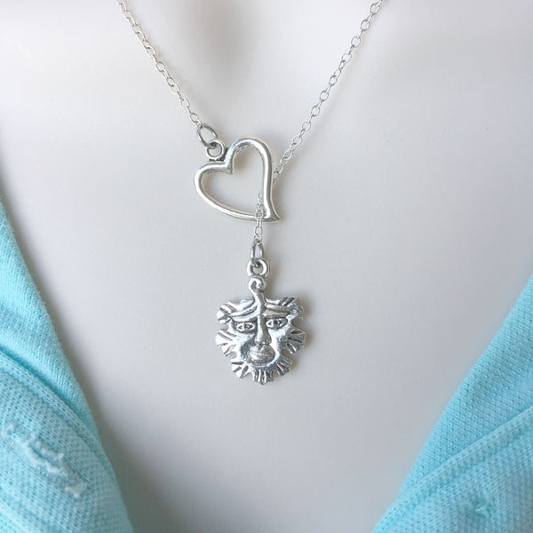I Love Greenman (Wicca God) Silver Lariat Y Necklace.
