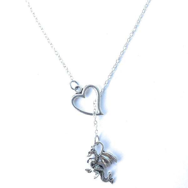I Love HP Dragon Silver Lariat Y Necklace.