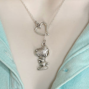 Beautiful SNOOPY Dog Silver Lariat Y Necklace.
