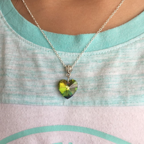 Beautiful and Colorful Rainbow Crystal Heart Charm Silver Necklaces.
