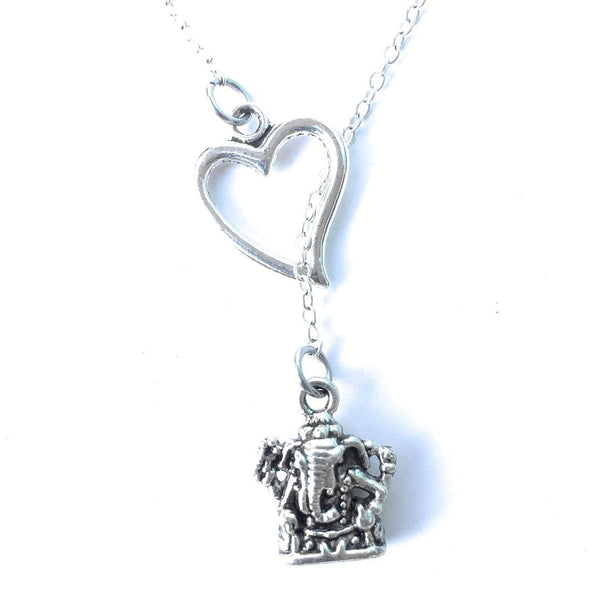 I Love Ganesha Goddess Silver Lariat Y Necklace.