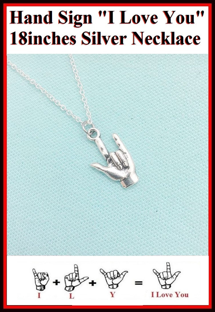 Hand Sign I Love You Charm Silver Necklaces.