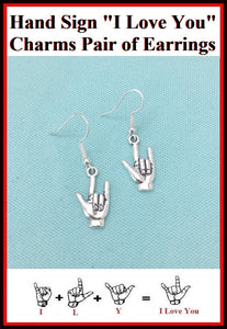 Hand Sign I Love You Charm Silver Dangle Earrings.