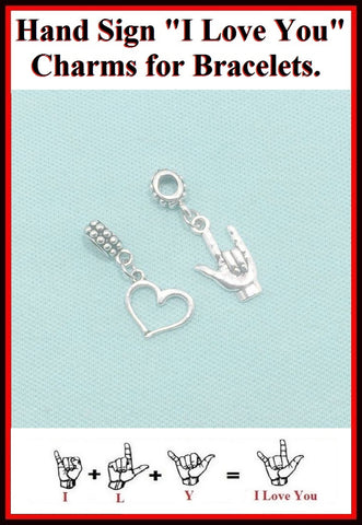 "Hand Sign "" I Love You"" Charms Bead for Bracelets."