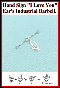 "Hand Sign "" I Love You""  Charm Surgical Steel Industrial."