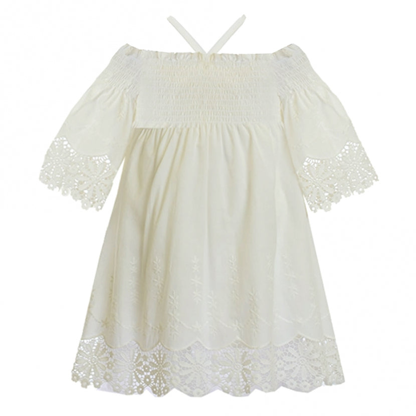 Biscotti Dress Off Shoulder with Lace White Colour