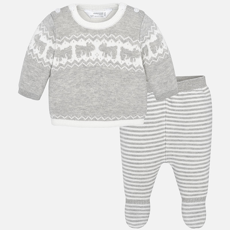Baby Boy Set with Knit Footed Trousers