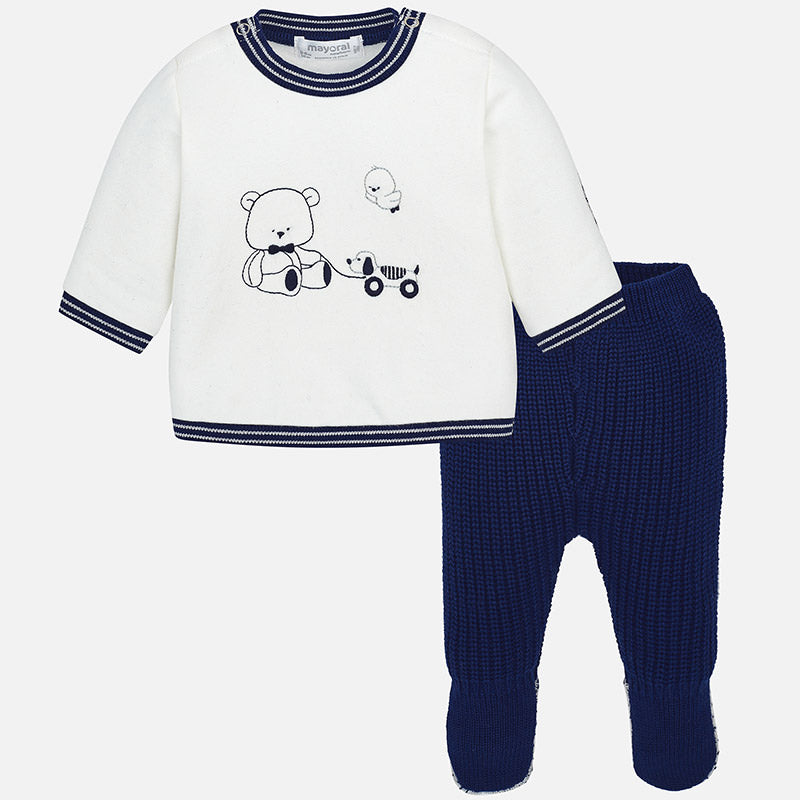 Baby Boy Set of Knit Footed Trousers and Fleece Sweatshirt