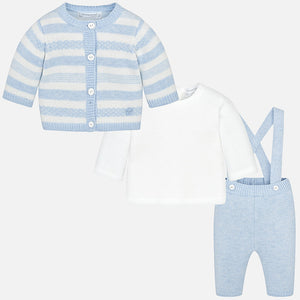 Baby Boy Set of Trousers, Cardigan and Shirt