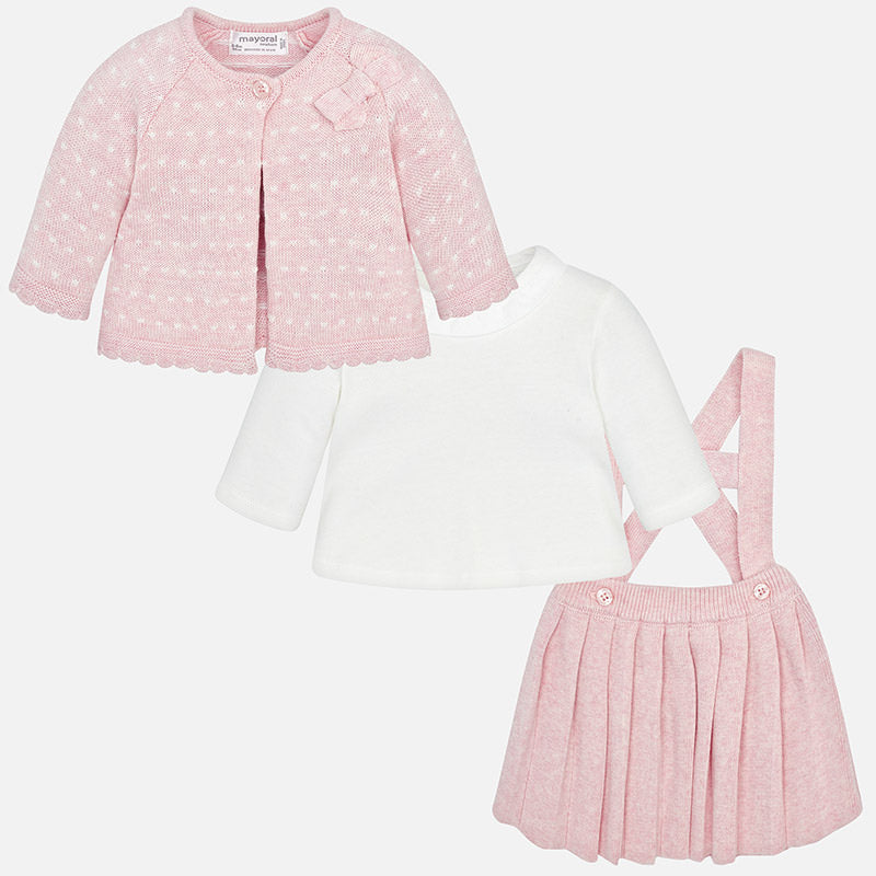 Baby Girl Skirt, Shirt and Cardigan Set