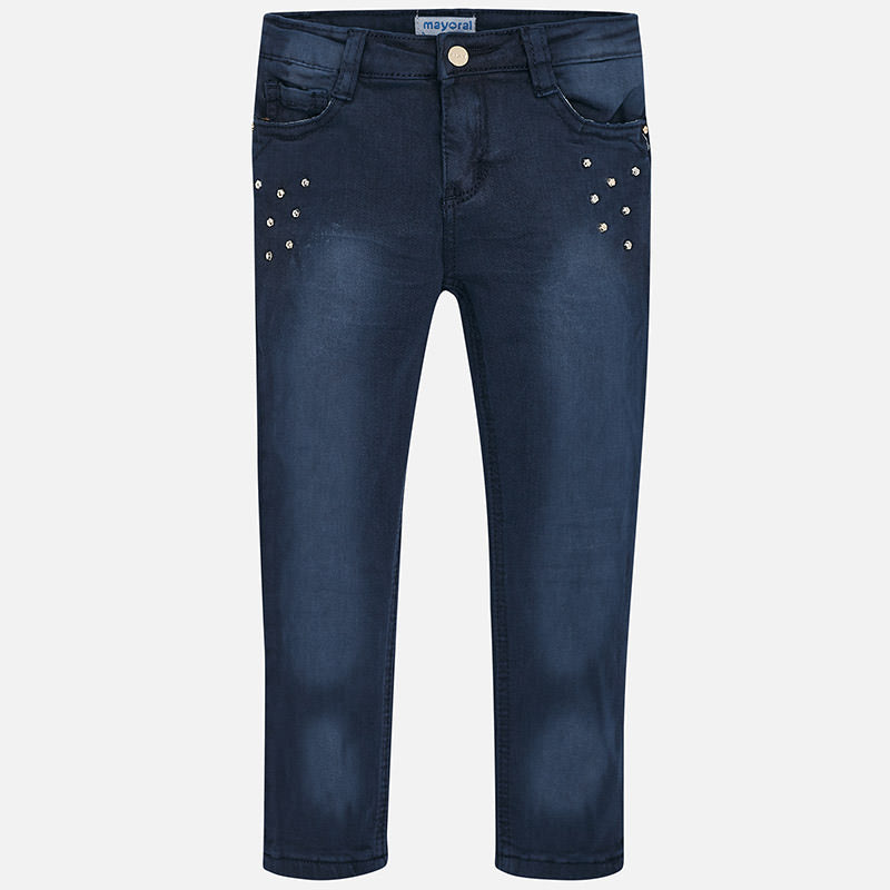Girl Twill Trousers with Rhinestones