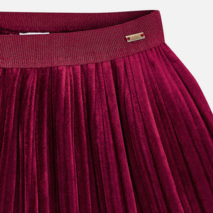Girl Pleated Velvet Skirt