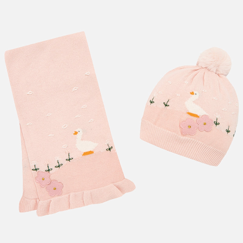 Baby Girl Geese Beanie Hat and Scarf Set