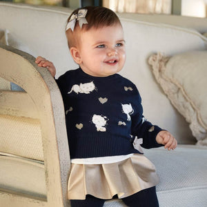 Mayoral Baby Girl Sweater with Leatherette Skirt Set