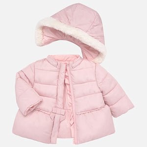 Mayoral Newborn Girl Reversible Coat with Ruffles