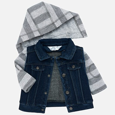 Mayoral Newborn Boy Denim Jacket with Stripped Sleeves