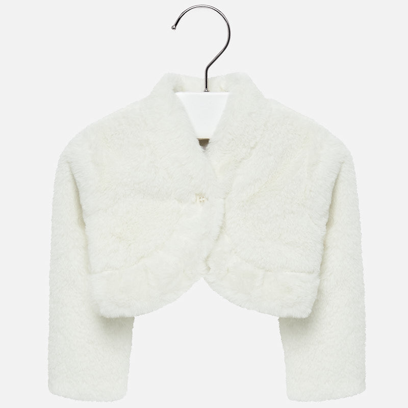 Mayoral Baby Girl Short Faux Fur Cardigan