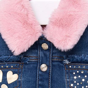 Mayoral Baby Denim Jacket with Faux Fur Collar