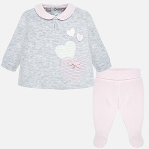 Mayoral Newborn Girl Applique Shirt and Trousers Set