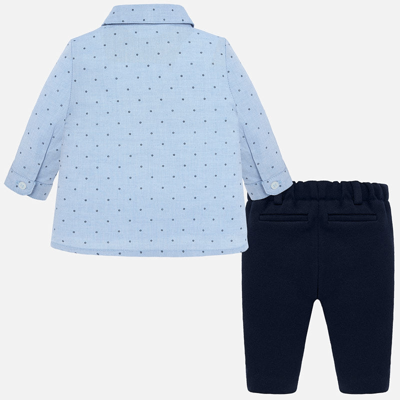 Mayoral Newborn Boy Trousers and Patterned Shirt Set