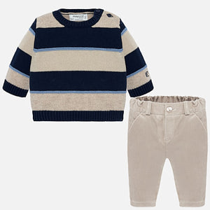 Mayoral Newborn Boy Trousers and Striped Jumper Set
